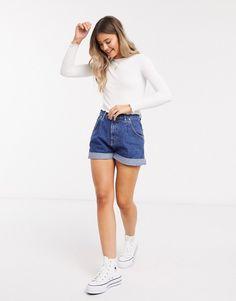 Pull & Bear, Blue Shorts Outfit, High Waisted Shorts, Denim Shorts, A Line Shorts, Jeans For Short Women, Short En Jean, Fall Looks, Blue Fashion