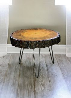 Thing made from wood slices | 24'' wide Tree Slice Coffee Table, Found Wood, Wood Slice