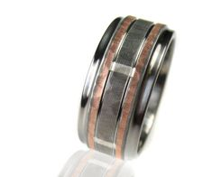 Hammered Titanium Silver Rose Gold Wedding Ring by spexton on Etsy, $649.00