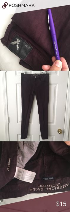 AEO purple skinny jeans Soft textured jegging by American eagle outfitters in a deep plum color. Rustic indie look to them. These are honestly the comfiest pants ever and they're super flattering on the tushy. Classy enough to be worn out but comfy enough to be worn every day.  Both my sister and I are obsessed with how soft they are. Size 6 American Eagle Outfitters Jeans Skinny