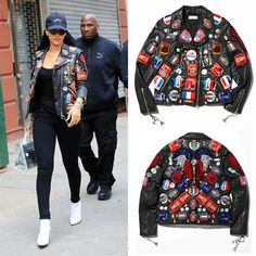 Rihanna in jacket by @driesvannoten. It comes from The Black Leather Jacket auction. #DriesForParis