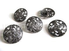 5 boutons ronds en métal ajouré couleur argenté foncé vieilli 23 mm - bouton métal à coudre : Boutons par une-histoire-de-mode