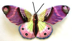 """Large Purple Butterfly Metal Garden Wall Decor 34""""  Hand painted - Tropical Design by TropicAccents, $69.95"""