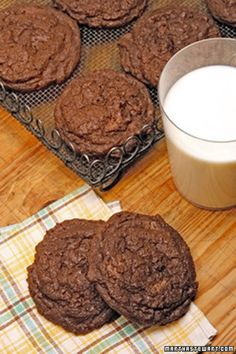 Espresso Double-Chocolate Chunk Cookies | Martha Stewart Living - These espresso double-chocolate chunk cookies will make your guests feel like they're eating an intense piece of chocolate cake.