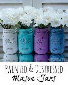 20  DIY Mason Jars Flower Pots -> White Painted & Distressed Mason Jars