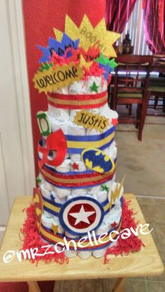 Super Hero diaper cake made by me, @michellewestcave --- @mrzchellecave on IG.