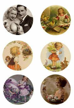 """Vintage Easter 1"""" inch free digital bottle cap images"""