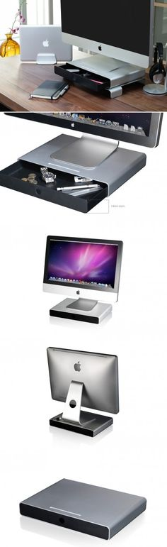 Just Mobile Drawer™ is a monitor stand and storage unit for minimalist desktops. Crafted from sleek aluminium, it's designed to beautifully complement an iMac or Cinema Display.