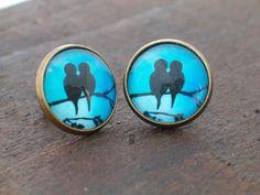 Summer Time! ❀   ~~~~~~~~~~~~  Handmade, cute black birds on branch post earrings.  ______________________________  Glass earring width - 14 mm /