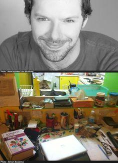 Bureau - Simon Boulerice : « La pièce est à mon image : chaotique (mais contrôlé!), et multi-tâches (c'est une salle à manger / salle de répétition / salle de danse / salle de name it). Sur mes murs jaunes, je colle autant les arbres généalogiques de mes personnages que ma prochaine liste d'épicerie (appréciez ici ma versatilité). Au centre de mon bureau trônent mes deux laptops: mon nouveau MAC et mon vieux PC, sur lequel survivent des textes mineurs et antérieurs dont je ne peux me…