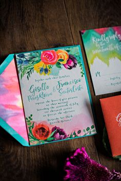 Wedding invitations and custom design specializing in custom watercolor and illustration. Colorful Wedding Invitations, Floral Wedding Stationery, Wedding Invitation Background, Pocket Wedding Invitations, Handmade Wedding Invitations, Destination Wedding Invitations, Printable Wedding Invitations, Wedding Invitation Design, Wedding Stationary