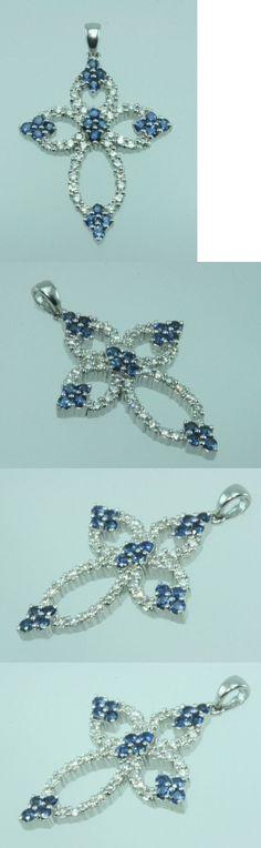 Gemstone 164332: Blue Sapphire Diamond Cross Pendant 18K White Gold Vs G Natural -> BUY IT NOW ONLY: $1200 on eBay!