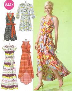 McCalls Sewing Pattern M7119 Womens Wrap Dress with by CloesCloset