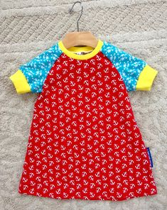 Handmade nautical colorful dress shortsleeve by NoNiMadewithlove