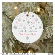 Stylish Silver Pink Snowflake Baby First Christmas Ceramic Ornament Baby First Christmas Ornament, Baby Ornaments, Babies First Christmas, Christmas Photos, Christmas Cards, Pink Stars, Snowflakes, Stylish, Holiday