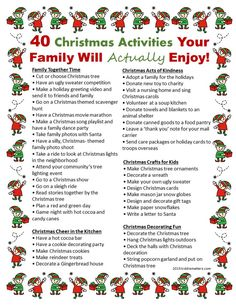 40 Christmas Activities Your Family Will Really Enjoy - Kiddie Matters - Joyeux Noel Christmas Countdown, 25 Days Of Christmas, Christmas Party Games, Winter Christmas, Holiday Fun, Christmas Crafts, Christmas Decorations, Family Christmas Activities, Family Activities
