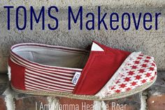 How to fix shoes that have a hole in the toe from I Am Momma - Hear Me Roar: TOMS Shoe Makeover
