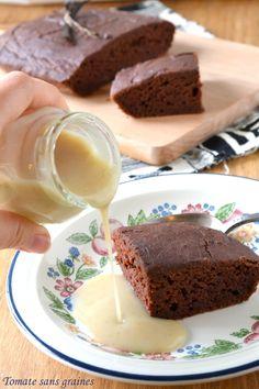 Gâteau au tofu soyeux {chocolat-châtaigne} et crème anglaise végétale / blog Tomate sans graines