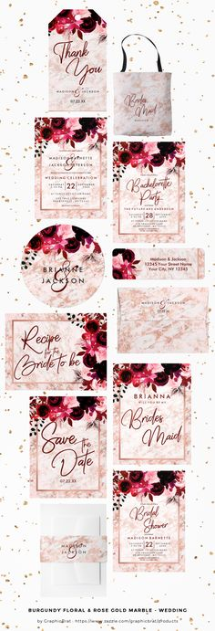 Burgundy Floral & Rose Gold Marble - Wedding Collection. So trendy and chic! Perfect design for a Winter Wedding! On Wedding invitations, Save the date Postcards, Bachelorette Party invites, cards, monogram envelopes, thank you tags, favors, table numbers, bridal shower invites, Stickers, Menus, welcome signs, bridesmaid gifts, monogram tote bags, and much more!