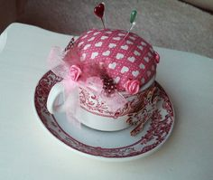 Vintage Teacup Pincushion Decorative by Ladydarinefinecrafts