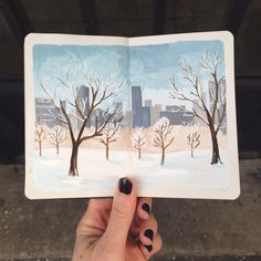 by Carrie Shryock Sketchbook Inspiration, Art Sketchbook, Watercolor Journal, Watercolor Art, Creative Notebooks, Guache, Landscape Art, Art Inspo, Amazing Art
