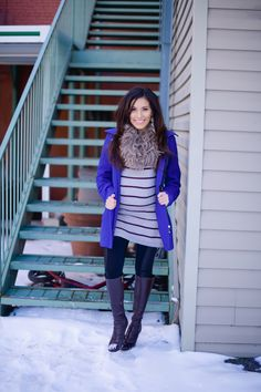 To keep that bump cozy and chic opt for sweater dresses! Get inspired with more pregnancy stylish looks at Mychicbump.com #maternity