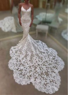 Wedding Dresses Simple, Glamorous Tulle Spaghetti Straps Neckline Mermaid Wedding Dresses With Lace Appliques Midi Bridal Uk Western Wedding Dresses, Luxury Wedding Dress, Dream Wedding Dresses, Bridal Dresses, Wedding Gowns, Event Dresses, Lace Wedding, Long Sleeve Wedding, Wedding Dress Sleeves