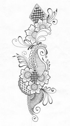 Henna Drawing by buterfligirl on DeviantArt Henna Drawings, Zentangle Drawings, Doodles Zentangles, Doodle Flowers, Flower Doodles, Easy Zentangle Patterns, Mehndi Designs Book, Easy Sketches, Art Inspiration Drawing