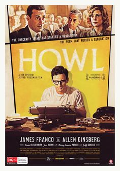 """Howl - Rob Epstein, Jeffrey Friedman 2010 - DVD06082 -- """"In 1957, in San Francisco, poet Allen Ginsberg has just published 'Howl'. This distinctive work immediately generates a great deal of controversy. Publisher Lawrence Ferlinghetti has been sued on charges of obscenity, as many feel the poem is simply too explicit for publication. When prosecutor Ralph McIntosh & defender Jake Ehrlich go head to head in front of Judge Clayton Horn, freedom of expression hangs in the balance."""""""