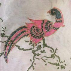 Hand blocked peacock design on chanderi silk