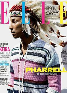 Did Pharrell cross the line? Elle magazine cover with Pharrell sporting Native American cultural appropriation. Still a fan cause we all make mistakes. Elle Fashion, Fashion Cover, Star Fashion, Fashion Music, Pop Fashion, Daily Fashion, Fashion Photo, Runway Fashion, Fashion News