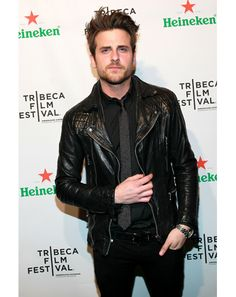 Jared Followill of Kings of Leon - love the slim tie and leather jacket combo