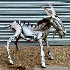 I'm the goat to guy for recycled sculptures ho ho #goat #sculpture #recycled #upcycled #art #hubcapcreatures