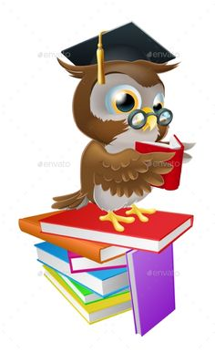 Buy Wise Owl Reading by Krisdog on GraphicRiver. An illustration of a wise owl on a stack of books reading wearing spectacles and a mortar board graduate cap. Pin Up Drawings, Cute Drawings, Night Owl Quotes, Owl School, Emoji Images, Owl Pictures, Wise Owl, Stack Of Books, Owl Art