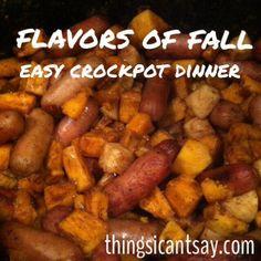 Sweet potatoes, apples, and sausage crockpot dinner. Easy dinner ideas.