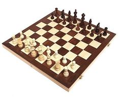 """Chess Armory 15\"""" Wooden Chess Set with Felted Game Board Interior for Storage *** Details can be found by clicking on the image."""