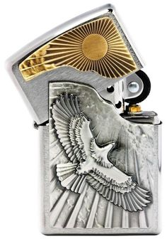 Zippo Lighter  Emblem - Eagle Flying & Sun  No 2003192 - New on brushed chrome