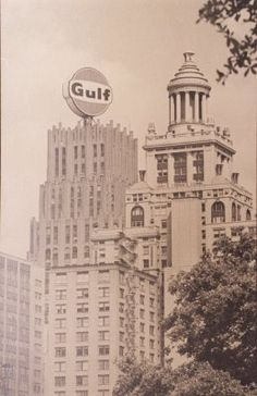 """illuminated rotating """"Gulf"""" sign on the Gulf Oil Building"""