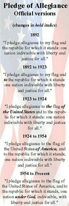 """""""I pledge allegiance to the flag of the United States of America, and to the republic for which it stands, one nation, under god, with liberty and justice for all. Us History, History Facts, European History, History Education, Teaching History, Modern History, Ancient History, American Flag, American History"""