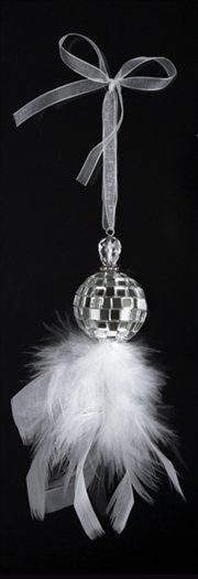 Silver Splendor Mirrored Disco Ball with White Feathers Christmas Ornament