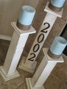 Decorate your house with these great DIY pillars. Its an easy project for all DIY skill sets. Diy Candle Holders, Candlestick Holders, Diy Candles, Candlesticks, Pillar Candles, Candleholders, Diy Projects To Try, Home Projects, Outdoor Projects