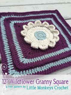 "12"" Wildflower Granny Square - Free Crochet Pattern by Little Monkeys Crochet - Blog Hop CAL day 12"