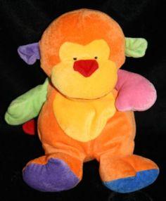 "Ty Pluffies Monkey Funky Bright Multi Color Velour 2005 Orange Stuffed ape 10"""