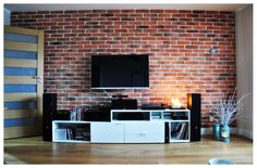 The wall Design Room, House Design, Exposed Brick, Tv Unit, Family Room, New Homes, House Ideas, Victorian, Living Room
