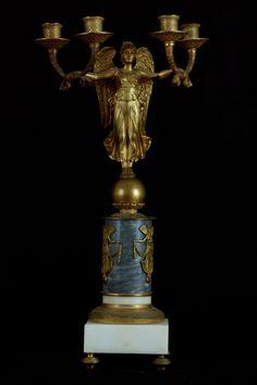 Pair of Dore Bronze & Marble Figural Candelabra
