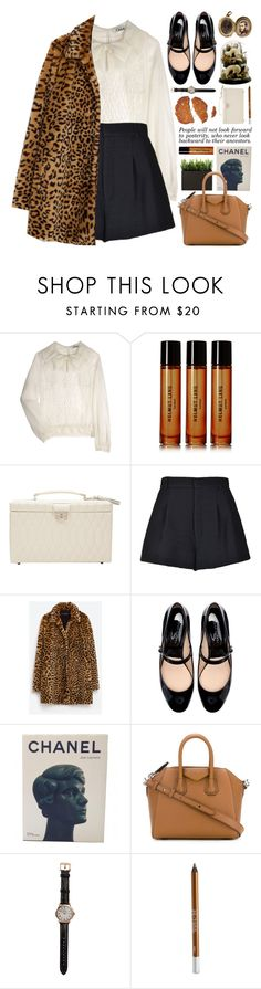 """""""leopard faux fur coat"""" by jesuisunlapin ❤ liked on Polyvore featuring Chloé, Helmut Lang, Dot & Bo, RED Valentino, Zara, Chanel, Givenchy, Shinola, Urban Decay and vintage"""