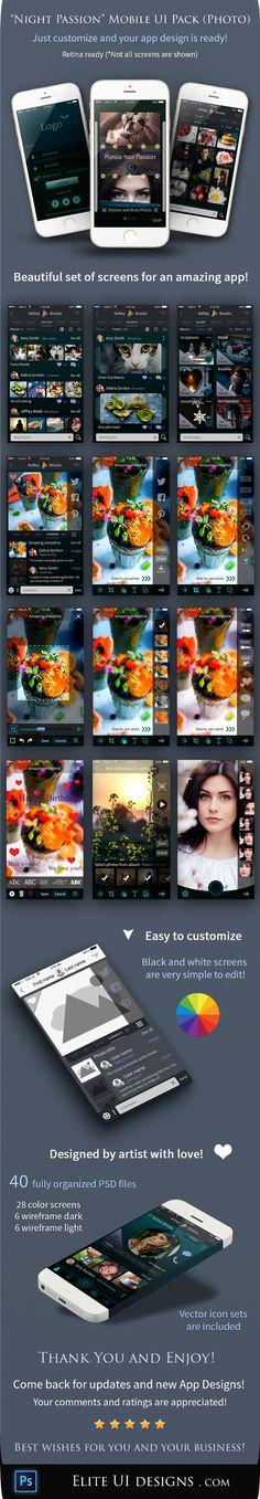 Night Passion mobile App UI Kit (Photo) - Elite UI Designs .com  - Awesome UI Designs - Elite UI Designs
