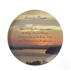 Serenity Prayer Seascape Sunset Plate #religion #faith #prayers #kitchen #tableware