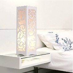 Daily Decorative Table Lamp with Flower Shaped Hollow Out, 85-265v, Warm White, Vintage Style Brief Modern Lampshade, Wood Plastic Material - - Amazon.com