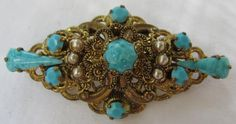 Ornate and Beautiful Turquoise Blue Cabachon and Gold от Cowdogger